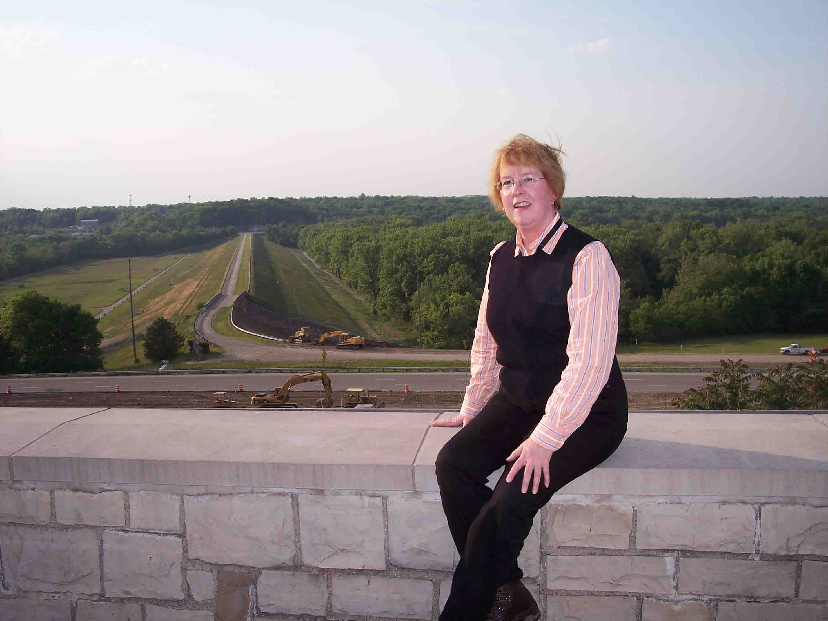 Trudy E. Bell overlooking Huffman Dam dry detention flood control basin north of Dayton, Ohio