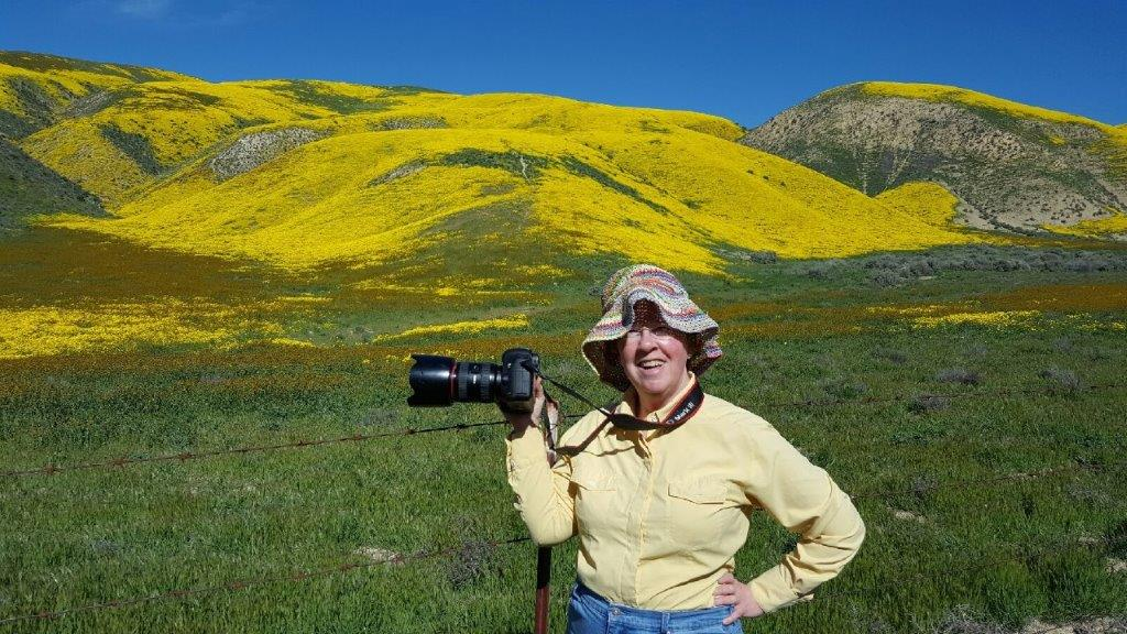 Trudy E. Bell photographing wildflowers in southern California, April 2017