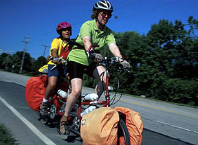 photograph taken of my 9-year-old daughter and myself on the final day of our 7-week solo tandem tour in 2000