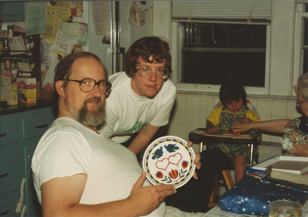Craig and I opening wedding gifts October 1993 - 3-yr-old Roxana and Arabella Bell