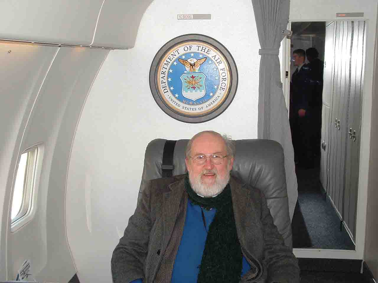 Craig B. Waff sitting in Air Force Two (in one of the several aircraft that conveys the U.S. Vice President) in December 2005 while he was detailed as historian to the 89th Airlift Wing at Andrews AFB.