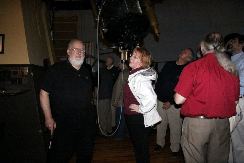 Waff (left) with Bell at the eye end of the 26-inch Alvan Clark refractor at the Leander McCormick Observatory of the University of Virginia, during the 2010 Antique Telescope Society convention, the last ATS convention Waff attended.