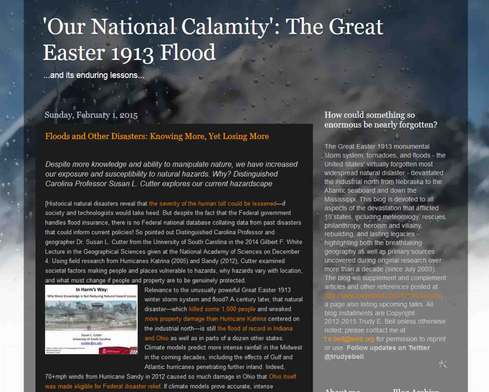 "Research blog ""'Our National Calamity': The Great Easter 1913 Flood"" gets a new research installment the first of each month"