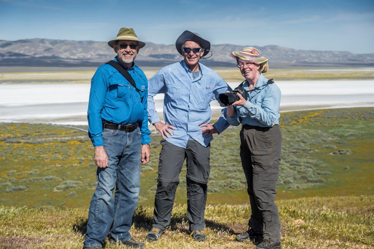 me with two random photographers met in the Carrizo Plain, March 2016 (Soda Lake in background)